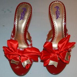 HALE BOB Red check print PEEP TOE MULE sandal